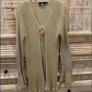 It our Time Tie front long lightweight sweater